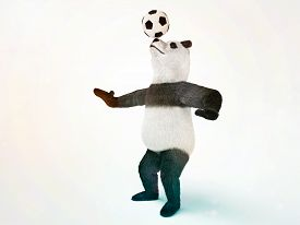stock photo of panda bear  - character circus bamboo bear giant panda standing spreading legs to the sides chasing a ball on his nose - JPG