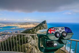 foto of gibraltar  - Amazing Vista from the top of the Rock of Gibraltar - JPG