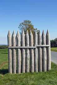 stock photo of stockade  - Reconstructed Limes palisade at Vielbrunn  - JPG