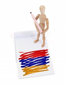 picture of armenia  - Wooden mannequin made a drawing of a flag  - JPG