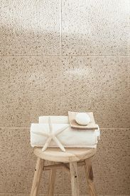 picture of stool  - Hotel bathroom decor closeup - JPG