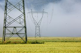 pic of electricity pylon  - Big electricity high voltage pylons with power lines on a field in a foggy morning - JPG