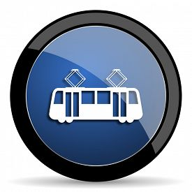 stock photo of tram  - tram blue circle glossy web icon on white background - JPG