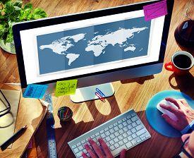 image of globalization  - World Global Business Cartography Globalization International Concept - JPG