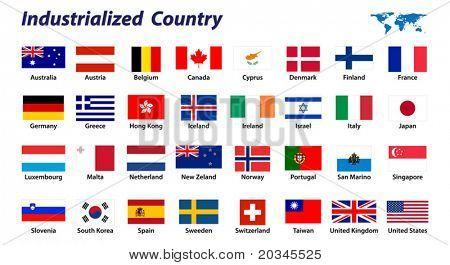 Постер, плакат: 32 Флаги страны промышленно, холст на подрамнике