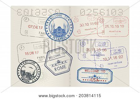 Passport pages with