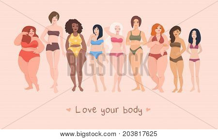 poster of Multiracial women of different height, figure type and size dressed in swimsuits standing in row. Female cartoon characters. Body positive movement and beauty diversity. Vector illustration