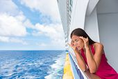 Cruise sea motion sickness tourist woman seasick on boat vacation with headache or nausea. Fear of t poster