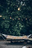 Stylish Travel Hammock Under Retro Lights In Summer Forest Park. Resting, Camping And Relaxing Outdo poster