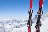 Pair of red skis standing in snow with copy space. Closeup of the ski touring equipments on the top  poster
