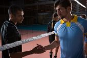 Volleyball players shaking hands through net at court poster
