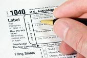 Filling out 1040 Form for tax return