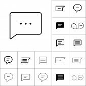Thin Line Chat, Speech, Comment, Chatting Icon On White Backgrou poster
