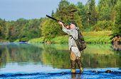 Hunter Hunting Duck poster