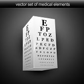 vector eye chart illustration in 3d