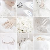 image of wedding couple  - collage of nine wedding photos - JPG