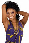 picture of black curly hair  - Beautiful African woman with long curly hair in purple halter neck dress and purple make - JPG
