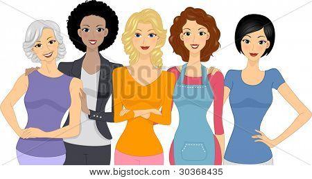 Постер, плакат: Иллюстрация различные группы женщин, холст на подрамнике