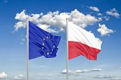 European Union Vs Poland. Thick Colored Silky Flags Of European Union And Poland. 3d Illustration On poster