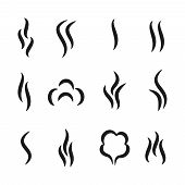 Steam Aroma Icons. Coffee And Tea Smell Black Symbols, Set Of Aroma Scent Gas Vapour And Water Steam poster