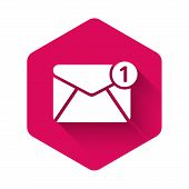 White Envelope Icon Isolated With Long Shadow. Received Message Concept. New, Email Incoming Message poster