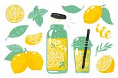 Hand Drawn Yellow Lemon. Summer Cold Lemonade With Slices Of Lemon Bottle Glass And Straw. Vector Do poster