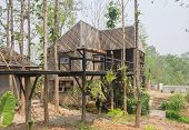 Wood Exterior House Design In Country Style Wide View. Exterior House Among Natural Forest. Country  poster