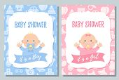 Baby Shower Card. Vector. Baby Boy, Girl Invite Design. Pink, Blue Banner. Welcome Template Invitati poster