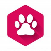 White Paw Print Icon Isolated With Long Shadow. Dog Or Cat Paw Print. Animal Track. Pink Hexagon But poster