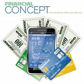 foto of mobile-phone  - Financial Concept with Touchphone  - JPG