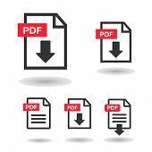File Download Icon. Document Icon Set. Pdf File Download Icon poster