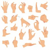 Flat Hand Gestures. Pointing Human Finger Gesture, Open Hand Signal. Arm Communication Attention Fin poster