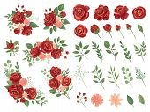 Red Floral Bouquet. Burgundy Rose Flower, Vintage Roses Bouquets And Spring Flowers Vector Illustrat poster