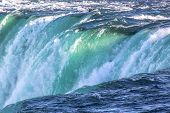 Gorgeous View Of Niagara Falls Landscape.waves Rumbling Against The Rocky Shore. Beautiful Nature Ba poster