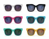 Set Of Isolated Sunglasses Realistic Images On Blank Background With Reflections And Colourful Model poster