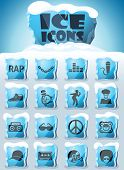 Rap Vector Icons Frozen In Transparent Blocks Of Ice poster