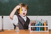 Elementary School. Little Children At School Lesson. Back To School. A Chemistry Demonstration. Chil poster