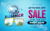 Summer Sale Design With Typography Letter And Exotic Palm Leaves In Sun Glasses On Blue Background.  poster
