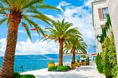 Beautiful Sea Promenade In Tivat, Montenegro. Kotor Bay, Adriatic Sea. Famous Travel Destination. poster