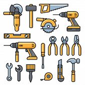 Building And Repair Tools Icons, Construction Tools Kit - Drill, Hammer, Screwdriver, Saw, File, Put poster