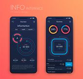 Vector Graphics Mobile Infographics With Two And One Options. Template For Creating Mobile Applicati poster