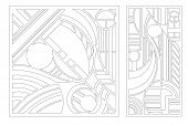Laser Cut Panel. Set Decorative Card For Cutting. Geometry Line Art Pattern. Ratio 1:2, 1:1. Vector  poster