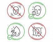 Do Or Stop. Face Protection, Water Drop And Face Detection Icons Simple Set. Head Sign. Secure Acces poster