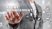 Event Management Concept. Event Management Flowchart. Event Management Related Items. Mixed Media Bu poster