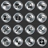 Постер, плакат: Медицинские иконки на металлические кнопки коллекции оригинальные иллюстрации
