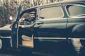 Call Boy In Vintage Auto. Bearded Man In Car. Retro Collection Car And Auto Repair By Mechanic Drive poster
