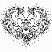 Two Unicorns With A Long Mane. The Magical Animal. Black And White. Coloring Pages For Adults And Ch poster