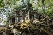 Ruins Of Ancient Beng Mealea Temple Over Jungle, Cambodia. Beng Mealea Is A Temple In The Angkor Wat poster