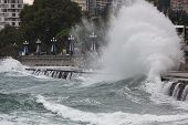 Autumn Storm In Yalta, Breaking Huge Waves Near Embankment.stormy Sea. Raging Black Sea.big Sea Wave poster