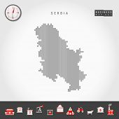 Vector Vertical Lines Pattern Map Of Serbia. Striped Simple Silhouette Of Serbia. Realistic Vector C poster
